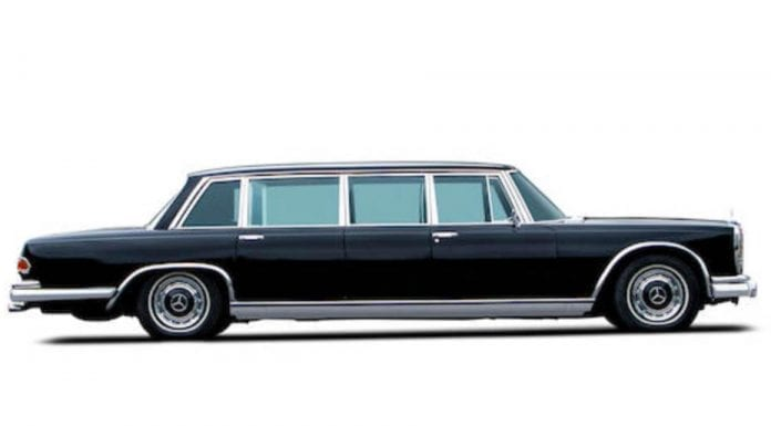 """A Grand Grosser – 1965 Mercedes-Benz 600 Pullman for sale – """"As good as new"""" 1965 Mercedes-Benz 600 Pullman """"dictator car"""" to be sold at auction in London by Bonhams. They offer the limousine at their 7th December 2019 sale at their New Bond Street showroom and have set an estimate of £300,000 to £500,000 ($388,000 to $646,000, €352,000 to €586,000 or درهم1.4 million to درهم2.4 million)."""