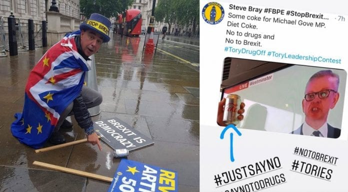 Picture of the Week – A Coked Contest – 'Stop Brexit' Steve Bray amusingly mocks Michael Gove's bid to become leader of the Conservative Party; 'Brexit' is named 'Children's Year of the Word'