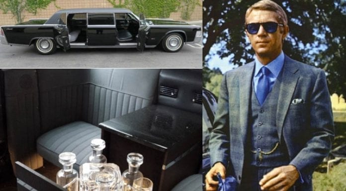 A Cool Limo – Ex-Steve McQueen 1965 Lincoln Continental limousine by Lehmann-Peterson to be sold at auction on 24th June 2017 by RM Sothebys – Guide of £77,000 to £116,000 ($100,000 to $150,000 €89,000 to €133,000 or درهم367,000 to درهم551,000).