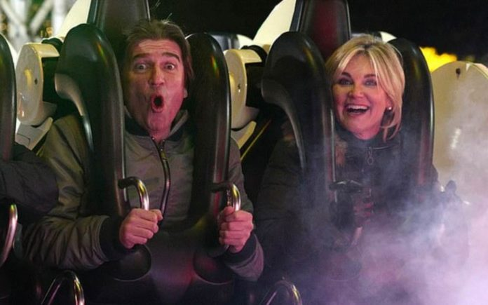"Anth' Swings into Hyde Park – Anthea Turner at Winter Wonderland in Hyde Park on Boxing Day 26th December 2019 – Publicity loving Anthea Turner and policeman biter fiancé ""giggled like teens"" as they ""hit the rides"" at Winter Wonderland on Boxing Day."