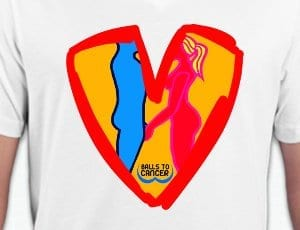 The T-shirt designed by Christine Hamilton and Teddy M for the male cancer charity Balls to Cancer