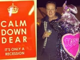 Calmed Down Cameron – David Cameron snapped 'Hugging a Corbyn' after he's revealed to have a 'Calm Down – It's Only a Recession' in his kitchen and a £25,000 shepherd's hut in his garden