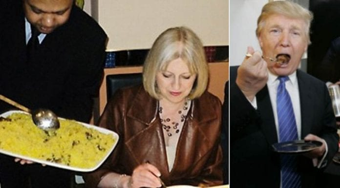 Cooking-Up a Cock-Up – Eating habits of Theresa May – Dining habits of Donald Trump and Theresa May. He likes overcooked steaks doused in ketchup; she likes to dine at the favourite restaurant of the paedo Rolf Harris