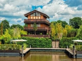 A Cut Cost Chalet – The Chalet, Hampton Court Road, East Molesey, Surrey, KT8 9BP – UK's weirdest home for sale for a sum 61% lower than its 2016 £13m asking price; it has been repossessed and comes with a huge indoor beach – On the market with Savills for £5 million ($6.9 million, €5.6 million or درهم25.3 million) on behalf of LPA Receivers in March 2018; down from £13 million ($17.9 million, €14.6 million or درهم65.9 million) in August 2016.