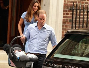 Duke and Duchess of Cambridge with Prince George and Range Rover FI 1