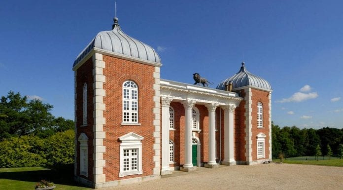 A Modern Masterpiece – Victorian farmhouse transformed into an Anglo-Baroque-style masterpiece by Robert Adam complete with a lion from Chuchill's garden on the roof for sale through Savills for £2.45 million ($3.1 million, €2.8 million or درهم11.4 million) – Eastwood Farm, Chilsham Lane, Herstmonceux, Hailsham, East Sussex, BN27 4QH.