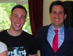 Ed Miliband pictured grinning with a Thatcher hater FI 1