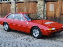 Boxing above its weight? Ex Sir Henry Cooper OBE 1973 Ferrari 365 GT4 2+2 for sale for 126% more than it sold for in 2015 – Coys 'True Greats' sale, London, Monday 5th December 2016 – £55,000 to £70,000 ($69,500 to $88,500 or €65,300 to €83,100 or درهم‎‎255,400 to درهم‎‎325,100)
