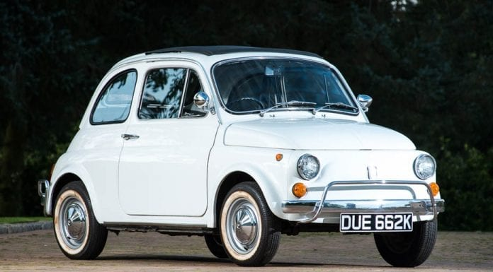 Sam Cam's Car – 1972 Fiat 500L owned by Samantha Cameron – registration DUE 662K – Silverstone Auctions NEC Classic Motor Show Sale – £18,000 to £22,000 estimate – 12th November and 13th November 2016