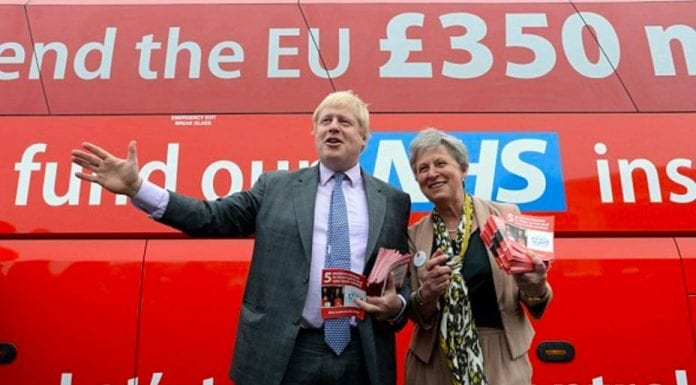 """Gobby Gisela – Vote Leave's Gisela Stuart should be ashamed of herself – The sheer arrogance of Vote Leave's Gisela Stuart has yet again been illustrated – Pictured above: Gisela Stuart with Boris Johnson and the disgraceful Brexit """"bus of lies"""" during the 2016 Brexit referendum campaign."""