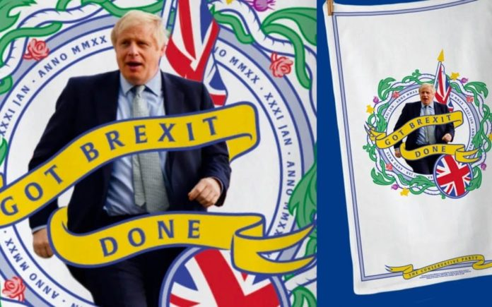 "A Wishy Washy Washup – £12 'Got Brexit Done' Tory tea towel – Boris Johnson's launch of a range of limited edition tea towels celebrating Brexit sums up the damp deal he's ""achieved"" perfectly."