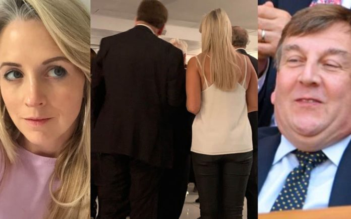 """Picture of the Week – Isabel Oakeshott Bums – John Whittingdale MP – Fake news creator Isabel Oakeshott dresses """"inappropriately"""" for a book launch and then stands next to the lapdance loving MP John Whittingdale; what a bummer they didn't get a room."""