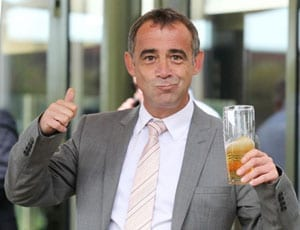 Michael Le Vell celebrates being cleared with a pint FI 1