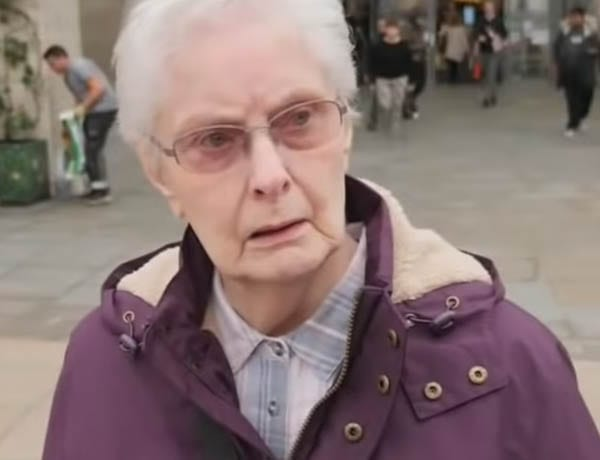 "Mrs Filthy Piece of Toerag – Angry pensioner constituent of Boris Johnson – This purple coated pensioner told Sky News' Sophy Ridge that she considers Prime Minister Boris Johnson ""a filthy piece of toerag"" in Uxbridge on 6th October 2019."