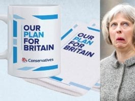 Mugged by Mrs May – Theresa May forges a new career in post-Brexit Britain: Flogging tea towels and mugs