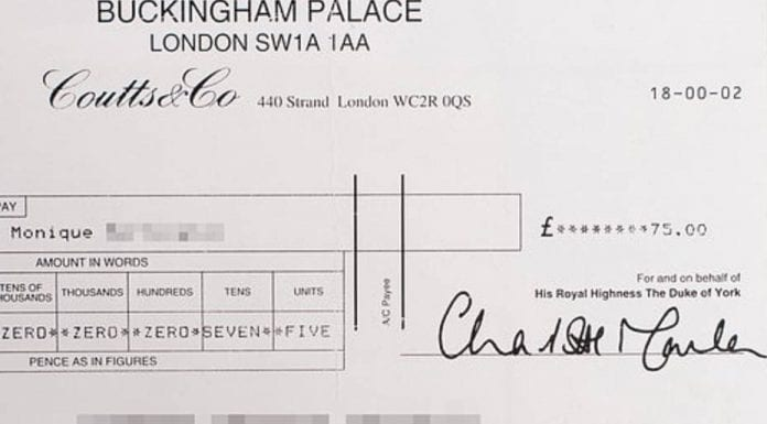The Cheque Doesn't Lie – Prince Andrew's cheques speak volumes – The release of a photograph of a cheque from Prince Andrew to Monique Giannelloni is further evidence of his sordid ways.