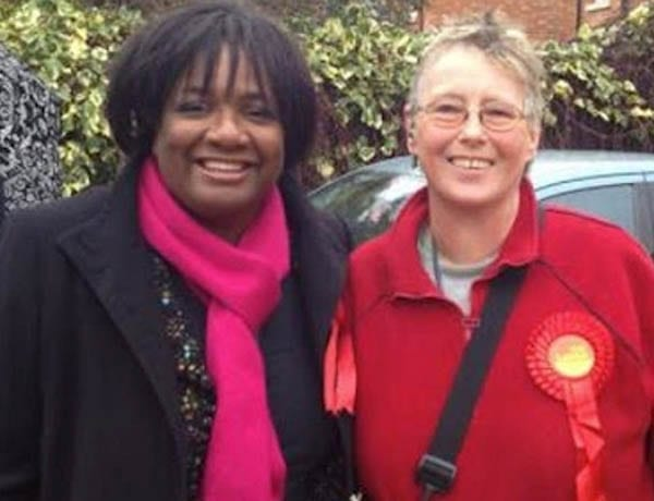Nazi supporting jailbird turned Milton Keynes Labour Party councillor Margaret Burke pictured with fellow hypocrite Diane Abbott MP