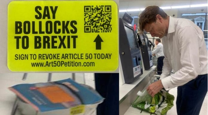 Picture of the Week – Stickered Richard Tice at Waitrose Belgravia – Brexiteer Richard Tice MEP spotted buying discounted salmon at Waitrose Belgravia; What next? Chlorinated American chicken?