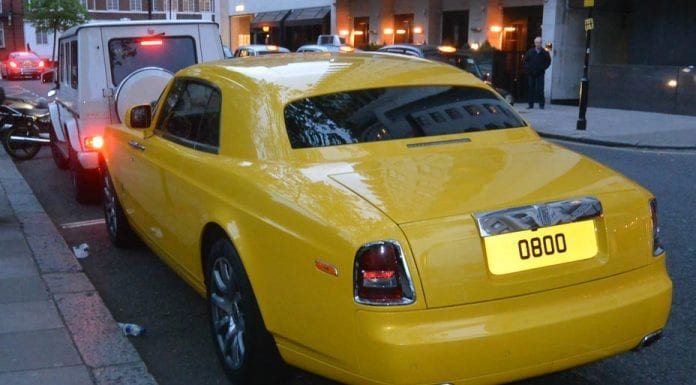 0800 Rolls – Custard coloured Rolls-Royce Phantom coupé, reg 0800