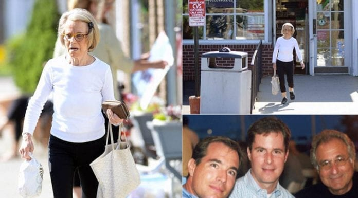 Meltdown Madoff – Bernard Madoff family finally relieved of their ill-gotten gains; victims now get back approximately 66% of losses whilst Ruth Madoff goes shopping – Pictured: Ruth Madoff shopping (left and top right); Mark, Andrew and Bernard Madoff pictured together in 2001 (bottom right).