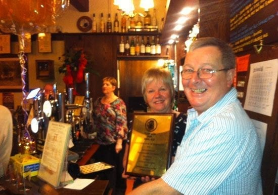Steve and Christine Dilworth with their latest Camra award