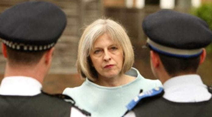 Slasher May – Theresa May should not be cutting police numbers – Theresa May should be ashamed of herself for slashing police numbers at this time; she should instead be increasing them.