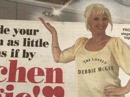 "McGee Magic – Debbie McGee appears in advert for crappy kitchen makeover company Kitchen Magic – ""The Lovely Debbie McGee"" hits a new low in appearing in adverts for a crappy kitchen makeover company (with captions across her cleavage)."