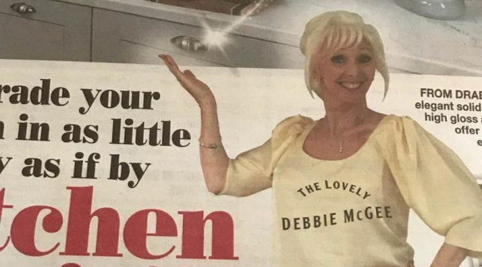 """McGee Magic – Debbie McGee appears in advert for crappy kitchen makeover company Kitchen Magic – """"The Lovely Debbie McGee"""" hits a new low in appearing in adverts for a crappy kitchen makeover company (with captions across her cleavage)."""