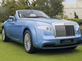 An Overhyped Roller – £1.917 million for 2008 Rolls-Royce 'Hyperion' Phantom 6.75-litre V12 drophead two-seater coupé through Alain Class Motors of Dubai – One-of-one 2008 Rolls-Royce 'Hyperion' Phantom drophead coupé by Pininfarina for sale for sum 51% lower than in 2009. It even has a compartment to hold rifles in front of its windscreen and comes with a one-of-one Girard-Perregaux wristwatch housed in its dashboard.