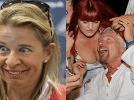 Sod Off Branson – Katie Hopkins sums up Richard Branson perfectly – In a rare moment of sanity, Katie Hopkins entirely rightly sums up the public's attitude to the reprehensible attempt by job killer Sir Richard Branson to grab British taxpayer's money. Pictured: Birdbrain Katie Hopkins (left) and self-absorbed job killer Sir Richard Branson getting busy with an especially classy looking woman's breasts (right).