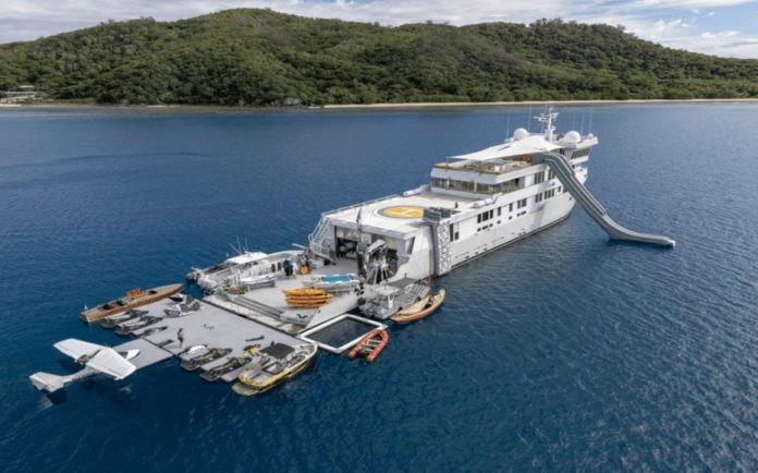 """An Ugly Duckling With All The Extras – Richard Kayne's yacht SuRi – """"Ugly duckling"""" ex-crab boat converted into """"ultimate fun factory"""" by billionaire equity investor Richard Kayne of Kayne Anderson Capital Advisors L.P. for sale for 47% less than in 2017; it comes with a two-seat amphibious flying boat – SuRi for sale for £18.8 million, down from £35.8 million through Burgess Yachts."""