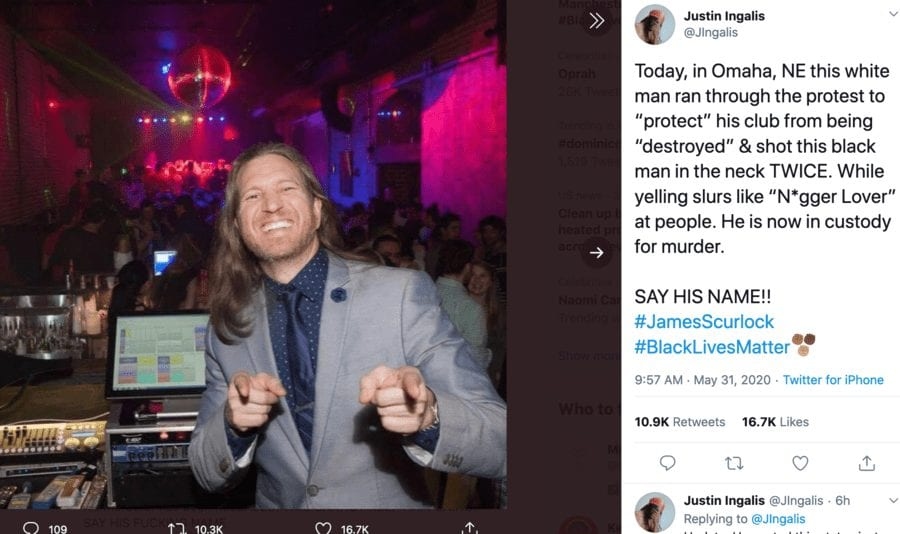 Justice for James Scurlock – Power of social media proven after the senseless murder of James Scurlock in Omaha, Nebraska allegedly by a bar owner Jake Gardner who has been photographed with Donald Trump. 30th May 2020.