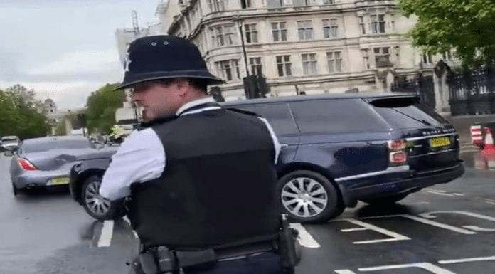 Boris Bashed! Boris Johnson's limo gets rear ended – Steve 'Stop Brexit' Bray captures Prime Minister Boris Johnson's Jaguar limousine getting rear-ended by his own security Range Rover in Parliament Square on Wednesday 17th June 2020.
