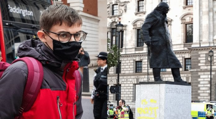 """Moron of the Moment – Benjamin Clark – Extinction Rebellion activist Benjamin Clark deserved more than a fine for painting the word """"racist"""" on a statue of Churchill."""