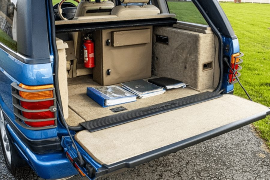 Noel's Blobby Mobile Office – £450k Range Rover for sale for £15k – 1997 Land Rover Range Rover HSE Autobiography, LP or P38A by Land Rover Special Vehicle Operations (LR-SVO) and the Unique Group, registration P880 KAC developed by Land Rover in conjunction with 'Mr Blobby' sidekick Noel Edmonds as a 'mobile office' at the incredulous price of £450,000 to be auctioned for just £15,000 to £18,000 by Silverstone Auctions at their 14th November 2020 NEC Classic online auction.