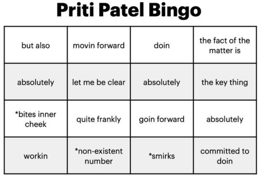 "A Bit of A Bully – Priti Patel – Priti Patel contradicts over Christmas – Well-known bully Priti Patel inspires a bingo game after her latest ""egregious"" telly box blunder over Christmas Covid-19 rules."