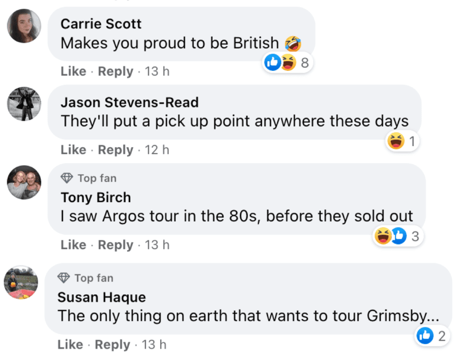 Hero of the Hour – Andy from Argos – Argos sign on Grimsby house – Grimsby resident takes with good humour someone attaching an Argos sign to his house whilst journalist reporting story of it goes all Miss Marple. Facebook group Angry People in Local Newspapers, GrimsbyLive.