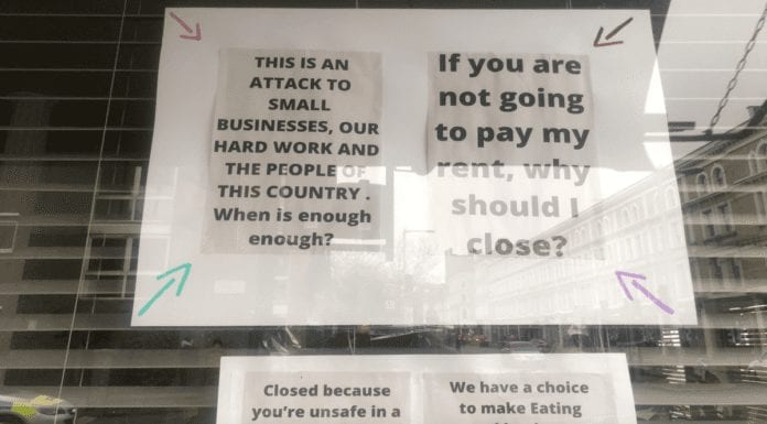 """A Chelsea Essential – The Chelsea Corner protests against Lockup 3.0 – Management of Fulham Road Italian The Chelsea Corner share their anger at the British government with protest posters against Lockup 3.0 and restaurants being branded """"non-essential."""" The Cheslea Corner, 451 Fulham Road, London, SW10 9UZ."""
