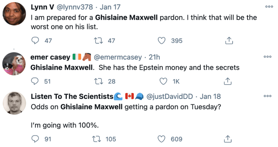"Ghislaine Goes 50/1 – Chance of Trump pardon for Maxwell at 50/1 – Odds of Donald Trump pardoning mucky madam Ghislaine Maxwell move to 50/1 from 3/1 earlier just as Joe Exotic's supporters start planning a ""pizza party"" for him."