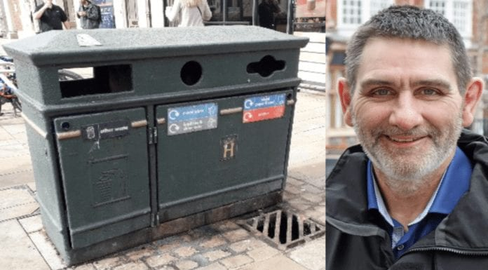 "Put a Bloody Bin in it! Chaos in Henley-on-Thames over bins – ""Waste expert"" Henley-on-Thames deputy mayor councillor David Eggleton resigns over ding-dong over a decision about 22 new 'heritage' bins; two of the bins are remarkably solar powered and in total are set to cost a staggering £19,000."