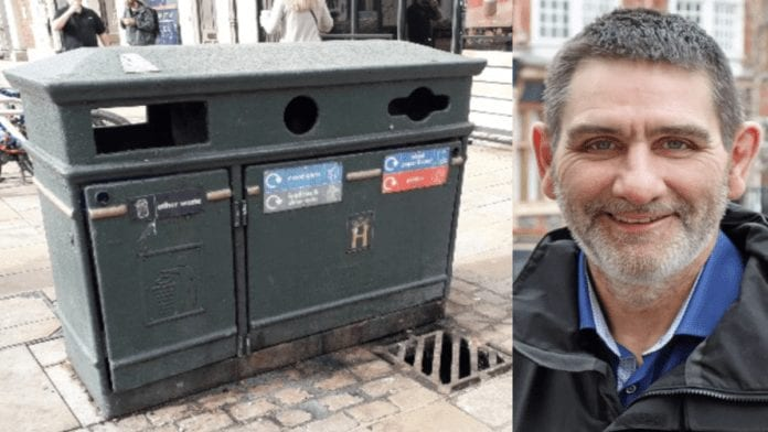"""Put a Bloody Bin in it! Chaos in Henley-on-Thames over bins – """"Waste expert"""" Henley-on-Thames deputy mayor councillor David Eggleton resigns over ding-dong over a decision about 22 new 'heritage' bins; two of the bins are remarkably solar powered and in total are set to cost a staggering £19,000."""