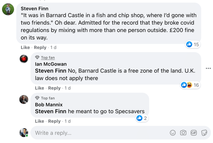 """Pensioners' Portion Palaver 2021 – Serial complainer Tony Kelly – Angry magnifying glass carrying pensioner Tony Crook complains about """"pensioners' portions"""" of fish and chips being """"obnoxious"""" in Barnard Castle – the land of Dominic Cummings' famous eye test outing in 2020."""