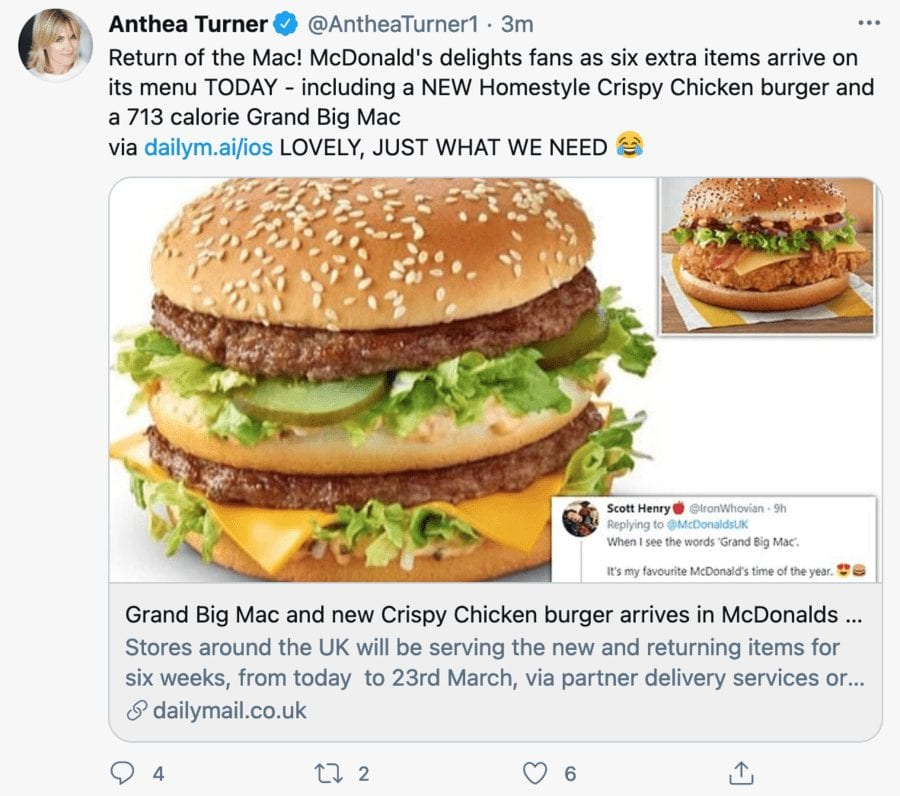 Moron of the Moment 2021 – Anthea Turner – Chocolate bar chomper Anthea Turner swings into action to trend on Twitter after banging on about obesity and coronavirus.