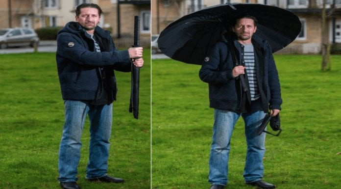 """A Brolly Wally 2021 – Samurai sword handled umbrella causes havoc – """"Britain's most troublesome brolly"""" goes to auction on eBay after its wally owner Mike Devlin nearly gets shot by armed police whilst carrying it."""