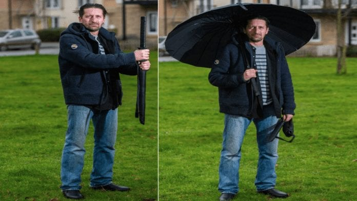 "A Brolly Wally 2021 – Samurai sword handled umbrella causes havoc – ""Britain's most troublesome brolly"" goes to auction on eBay after its wally owner Mike Devlin nearly gets shot by armed police whilst carrying it."