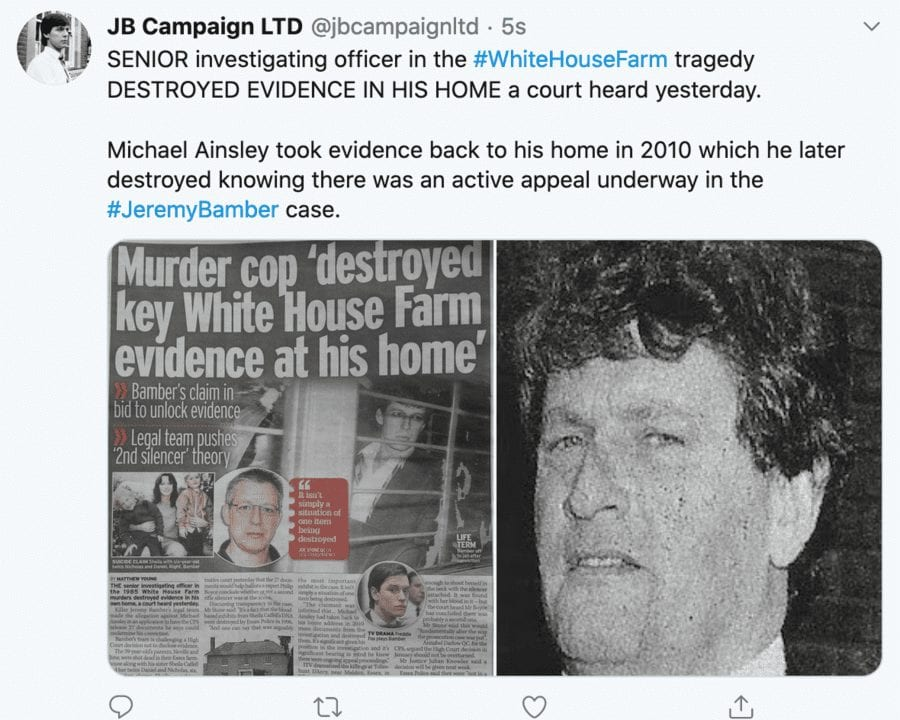 Fresh Hope for Jeremy Bamber 2021 – Bamber seeks new appeal – As Jeremy Bamber gets fresh hope and seeks yet another appeal over the White House Farm familial murders, questions emerge that Essex Police truly ought to answer.