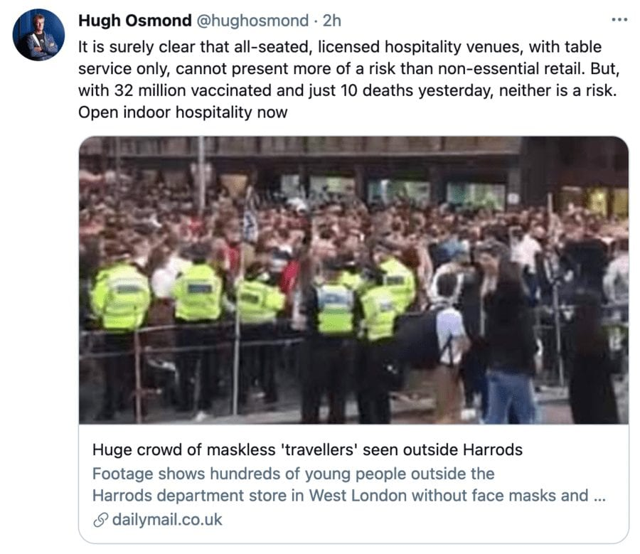 Hospitality vs. Headbangers 2021 – Hospitality vs. Government – Legal challenge to Boris Johnson's government's illogical refusal to allow indoor hospitality venues open whilst allowing indoor retail to be decided on this week.
