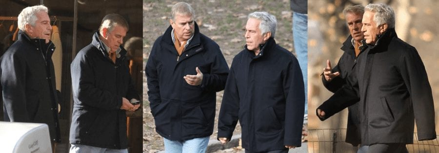 Prince Andrew and Jeffrey Epstein in matching coats in New York in 2010 - Creepy
