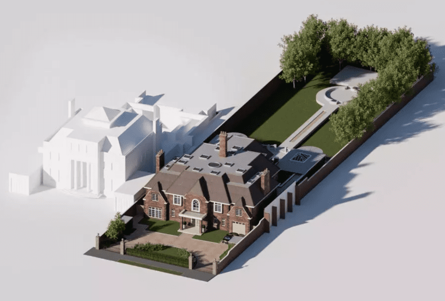 """Flattening a Fountain – £12 million for mansion The Fountains, 39 The Bishops Avenue, Hampstead Garden Suburb, London, N2 0BA, United Kingdom ($16.6 million, €13.9 million or درهم61 million) with planning permission to demolish and replace through Knight Frank – Boxy """"Town Hall classical style"""" mansion 'The Fountains' on infamous The Bishops Avenue, N2 for sale for £3 million less than it listed for in 2012; this time it is destined for flattening."""