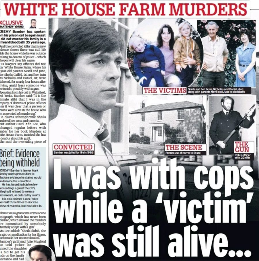Outside Bamber 2021 – Jeremy Bamber was OUTSIDE with police – Evidence suggesting Jeremy Bamber was OUTSIDE White House Farm with police whilst movement was seen inside on the night of the murders there could provide him with an alibi.